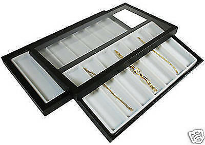 14 Slot Acrylic Lid Jewelry Display Case White Tray