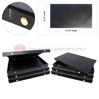 6 Double Sided Snap Top Solid Lid Jewelers Display Presentation Organizer Cases