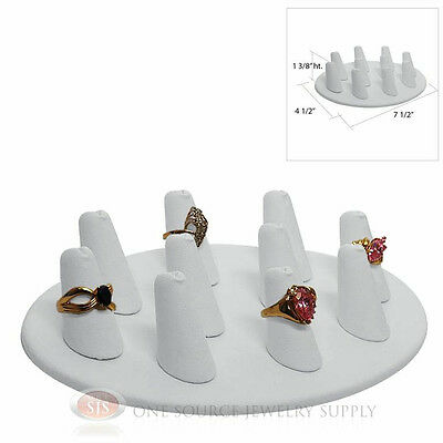 "1 3/8"" Ten Finger White Leather Oval Ring Display Jewelry Showcase Presentation"
