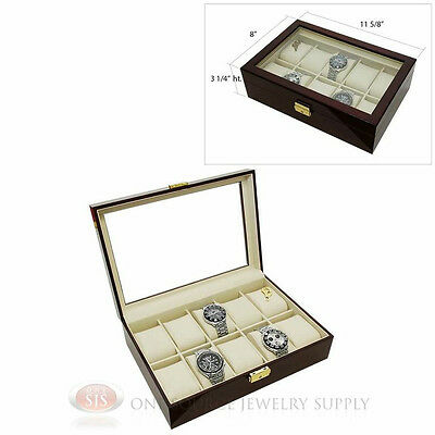 10 Watch Glass Top Rosewood Watch Case with Beige Faux Leather Lining Display