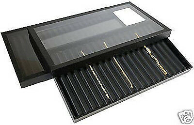 2-18 Slotted Acrylic Lid Jewelry Display Bracelet Case