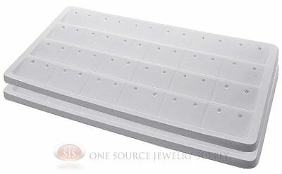 2 White Insert Tray Liners W/ 24 Compartment Earrings Organizer Jewelry Display