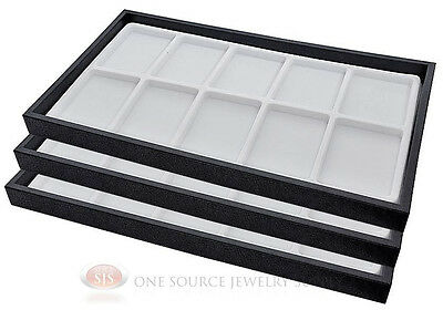 (3) Black Plastic Stackable Trays w/10 Compartments White Jewelry Display Insert