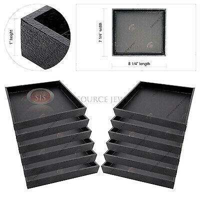 12 Display Sample Trays Black Wooden Covered Faux Leather Organizer Storage