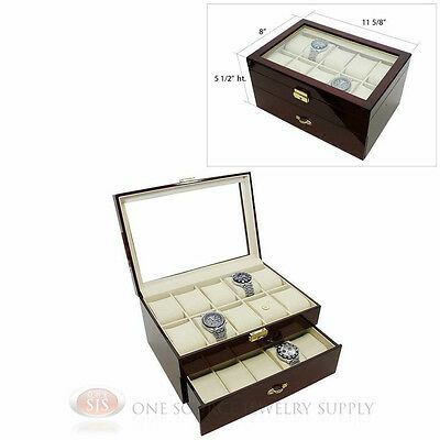 20 Watch Glass Top Rosewood Watch Case with Beige Faux Leather Lining Display