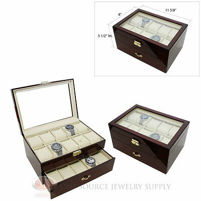 (2) 20 Watch Glass Top Rosewood Cases with Beige Faux Leather Lining Displays