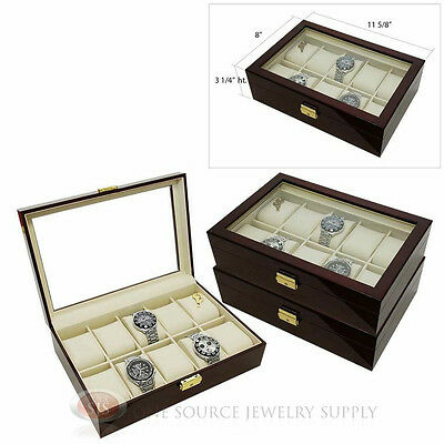 (3) 10 Watch Glass Top Rosewood Cases with Beige Faux Leather Lining Displays