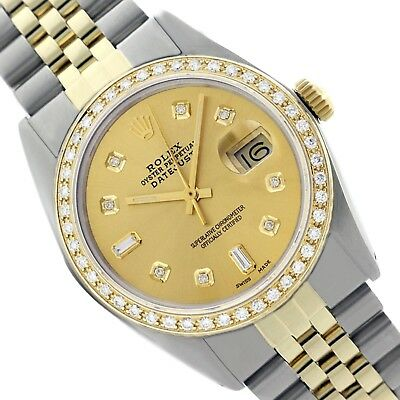 Caliber 3035 Rolex 16013 Diamonds Watch Datejust Gold Champagne Dial 36mm Mens