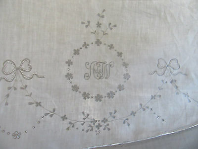 Antique Embroidered Linen Sheet French Monogram Floral Pierced 80 by 100