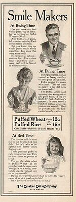 1916 Quaker Oats Oatmeal Breakfast Cereal Smile Maker Kitchen Décor Print Ad
