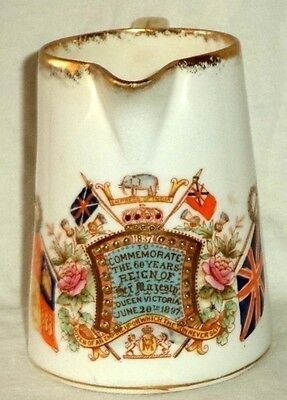 """Queen Victoria Jubilee Pitcher 1897 60 Years Reign William Lowe Longton 4"""" Tall"""