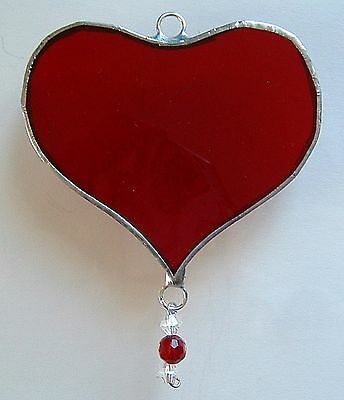 Ruby Red Love Heart stained glass suncatcher anniversary wedding gift
