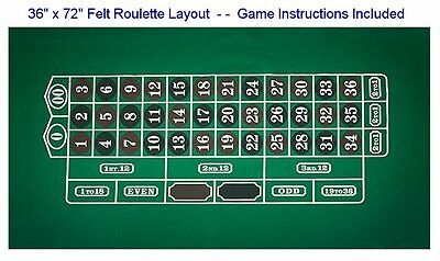 ROULETTE LAYOUT by Trademark Poker - 36 x 72 Felt - With Instructions - NEW