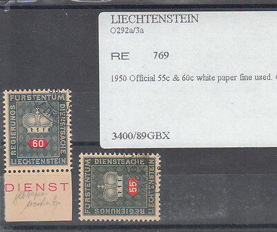 Leichenstein 1950 Officials 55C And 60 C White Paper Fine Used