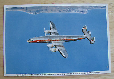 0335 Vintage Postcard of TCA Super Constellation Aircraft 4 Propellers