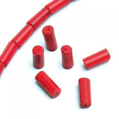 "Deep Red Column Natural Coral Loose Beads16"" Nice for DIY Jewelry Making"