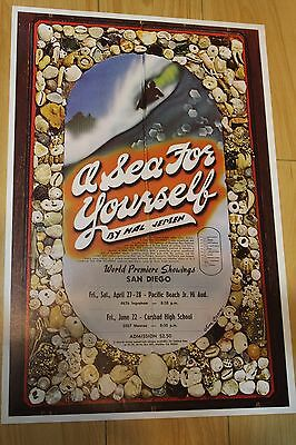 A SEA FOR YOURSELF - Hal Jepsen 11x18in. San Diego CA O.G. 1973 Surfing Poster