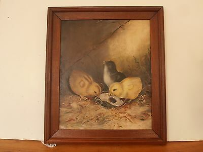 """Antique folk art oil brd painting CHICKS eating from Oyster shell dated 1895 12"""""""