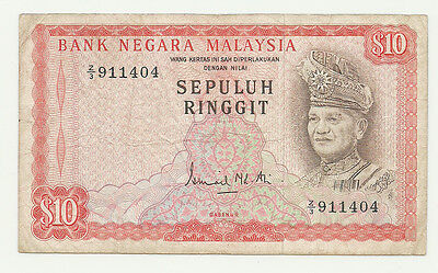 MALAYSIA 1972 - 1976 10 RINGGIT 2ND SERIES P9a* Z/3 REPLACEMENT VERY RARE VF