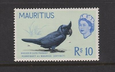 MAURITIUS BIRDS 290 Rs10 Broad-billed parrot mint 1965