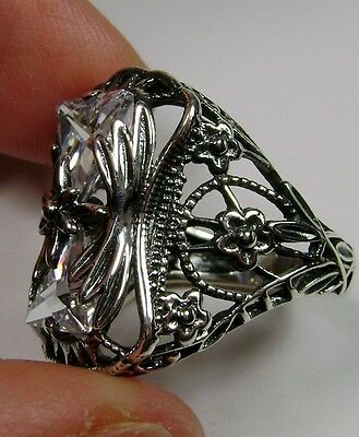 Trillion Cut White Gem Sterling Silver Art Deco Filigree Ring {Made To Order}