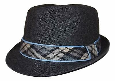 a167a682824 New Daniel Cremieux Men s Poly wool Fedora Hat Grey With Plaid Band Large xl