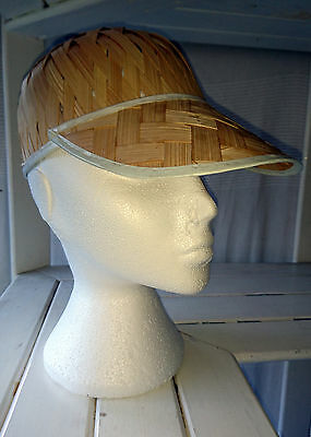 """VINTAGE 80s Straw Jockey Cap with Wide Front Brim Hat 21.5"""" 55 cms Small"""