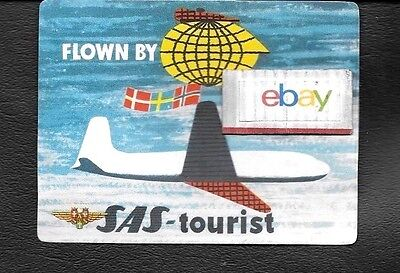 Sas Scandinavian 1950's Flown By Sas Tourist Baggage Label