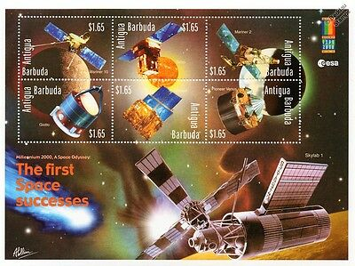THE FIRST SPACE SUCCESSES: Spacecraft (Mariner/Giotto) Stamp Sheet/2000 Antigua