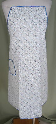 Sweet Vintage  Coloful Blue Floral Print Cotton Full Coverage Apron w Sash Ties