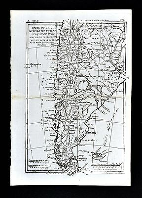 1779 Bonne Map Chili Chile Argentina Buenos Aires Falkland Islands South America