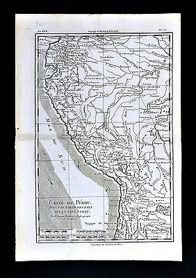 1779 Bonne Map Peru Ecuador Bolivia Quito Lima Cuzco Amazon Brazil South America