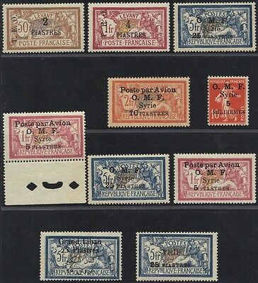SYRIA 1919-24 SELECTION OF 10 HIGH VALUE OVERPRINTED CLASSICS ON 25p ON 5 FRANCS
