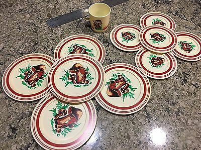 Vintage Chilton Children's Mushroom Play Dishes Plates Bx49