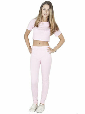 Womens Two Piece Ribbed Plain Jogger Tracksuit Jumper Loungewear Size 8 10 12 14
