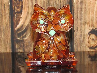 Vintage Mid Century Lucite Acrylic Small Petrified Wood Owl Wall Plaque