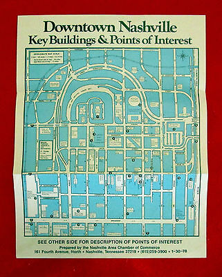 Points of Interest in Downtown Nashville Tourism Leaflet 1978 golc