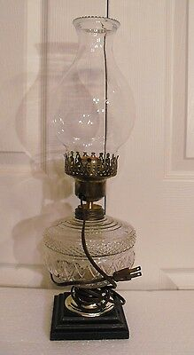 Antique  Embossed Acorn Pattern  Clear Glass Oil Lamp Converted to Electric
