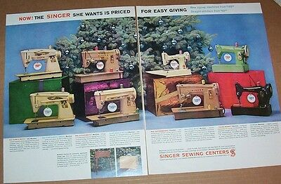 1961 print ad - Singer sewing machines Christmas vintage 2-page advertising