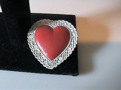 Vintage 1950's Celluloid Plastic Heart Pin With Lace Edges