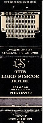 Matchbook Cover ! Lord Simcoe Hotel, Toronto, Canada !