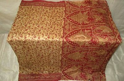Maroon Cream Pure Silk 4 yd Vintage Antique Sari Saree global Costumes US #OGE1G