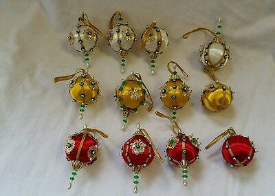 12 Vintage Styrofoam Satin Handmade Beaded Jewel Sequin Christmas Ball Ornament