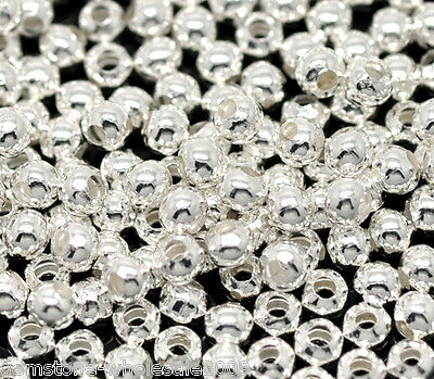 1000PCS Wholesale Lots Silver Plated Smooth Round Spacers Beads 3mm GW