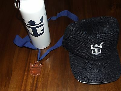 Lot of 3 Royal Caribbean items water bottle medal hat mesh navy sail cruise