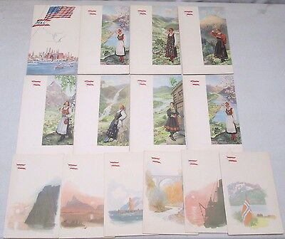 Vintage 1948 Norwegian American Line Ocean Liner Cruise Ship Menu Lot of 14