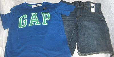 NWT Boys 8 GAP 2 Pc Outfit Denim Shorts and Short Sleeve Logo Top NEW