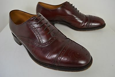 Vintage Loake Shoemakers Brogues English Made Oxblood Brown Shoes Size 8.5