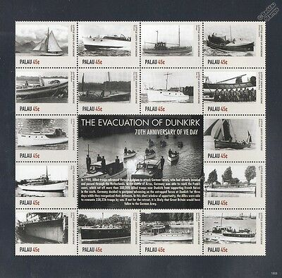 WWII The Evacuation of DUNKIRK Little Ships 16v Stamp Sheet #1 (2015 Palau)
