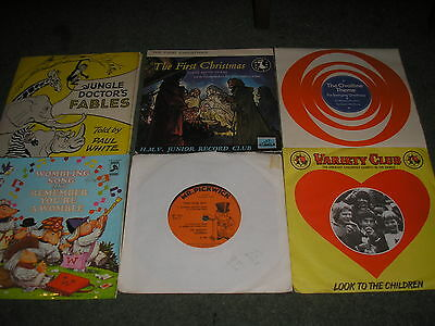 Lot 6 Children's Records3 Blind Mice-Jungle Doctors Fables-Wombling Song Etc